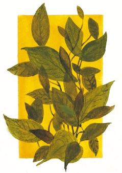 Composición de hojas con fondo amarillo