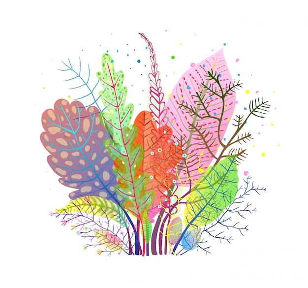 Composición de hojas de otoño suave otoño