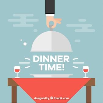 Composición de hora de la cena con copas de vino