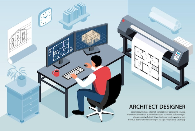 Composición horizontal del diseñador del arquitecto con el hombre sentado en su lugar de trabajo trabajando con un programa de computadora isométrico