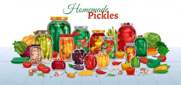 Composición horizontal de encurtidos con muchos frascos de vidrio con texto de verduras y piezas de ilustración de frutas maduras