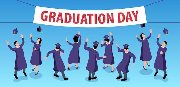 Composición horizontal de graduación isométrica con cartel de texto editable y grupo de estudiantes de baile con trajes académicos
