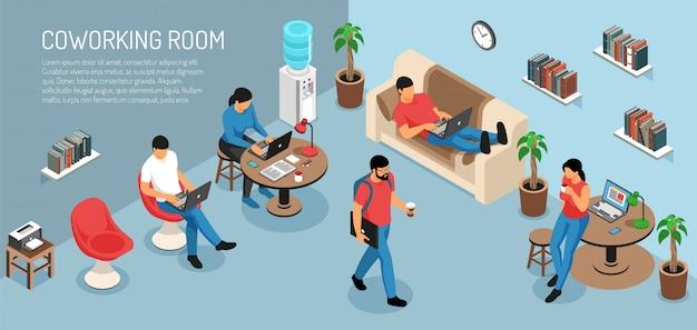 Composición horizontal isométrica independiente con texto editable e interior de la sala doméstica con jóvenes en el trabajo