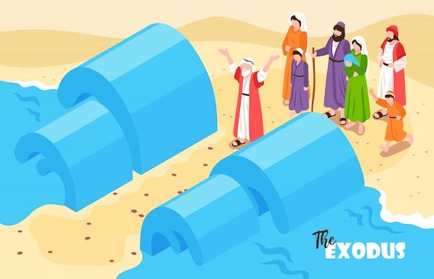 Composición horizontal isométrica de narraciones bíblicas con texto y paisajes de inundación de noé con personajes de agua y personas