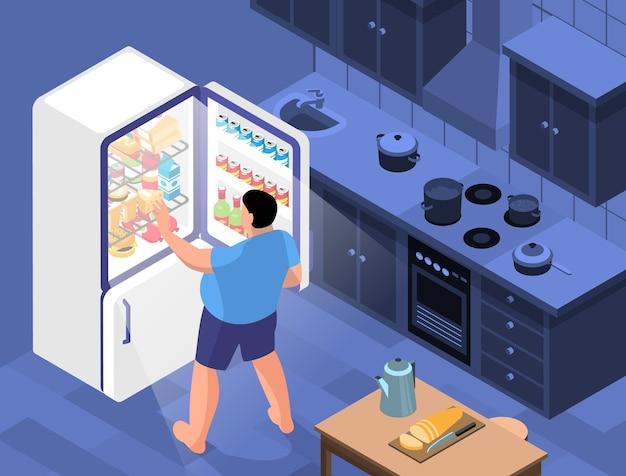 Composición horizontal de obesidad isométrica con vista del interior de la cocina con persona gorda que abre la puerta del refrigerador