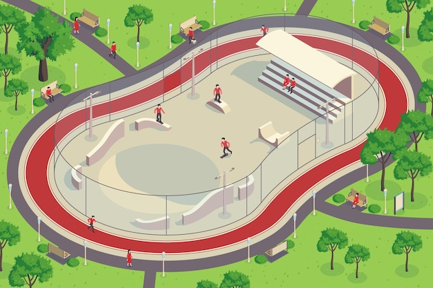 Composición horizontal del parque de la ciudad isométrica con vista exterior del cuarto de tubo con personajes de la ilustración de los patinadores,