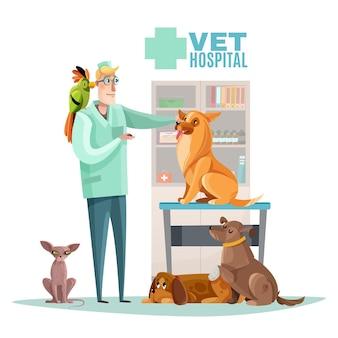 Composición del hospital veterinario con elementos interiores de veterinario y mascotas planos