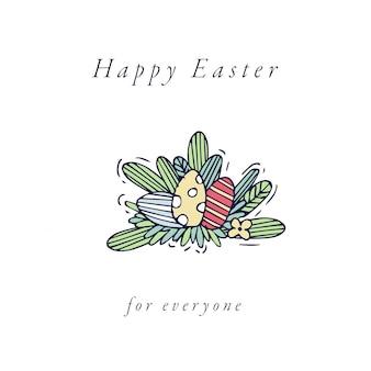 Composición de huevos de pascua. colorido lineal de iconos de huevos de pascua en fondo blanco. humor de primavera.