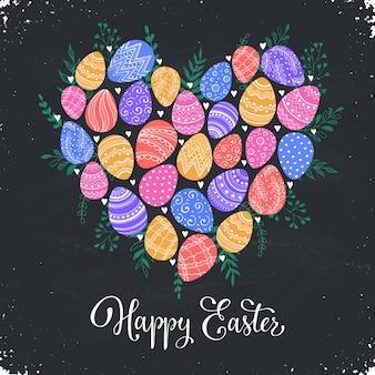 Composición con huevos de pascua dibujados a mano e.