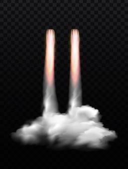Composición de humo de llama de cohete espacial con nubes de humo y ráfagas de fuego en transparente