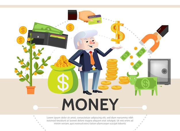 Composición de iconos de efectivo plano con dinero árbol tarjeta de pago monedas dólar seguro billetera de vaca imán financiero