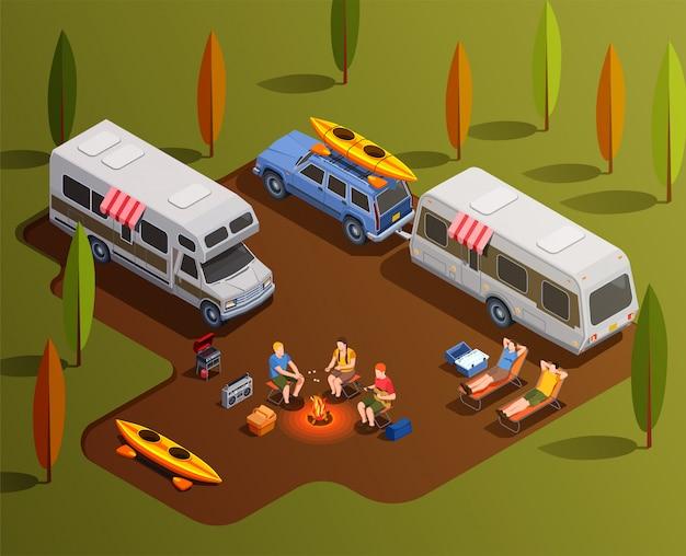 Composición de iconos isométricos para acampar con remolques de casas rodantes, botes de remo y personajes humanos con ilustración de fogata