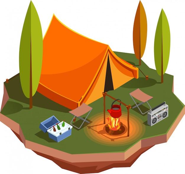 Composición de iconos isométricos de camping senderismo con vista del prado del bosque con carpa y hervidor en fogata