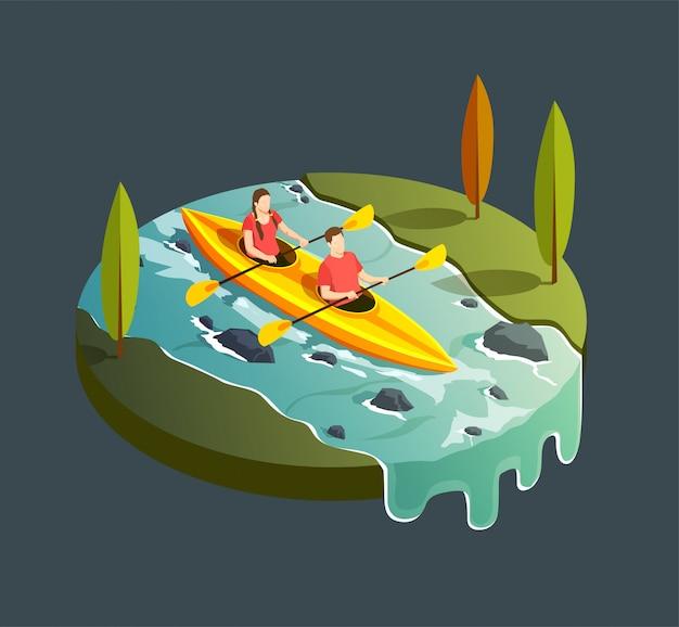 Composición de iconos isométricos de camping senderismo con vista redonda del río de montaña y bote de remos con ilustración de personas