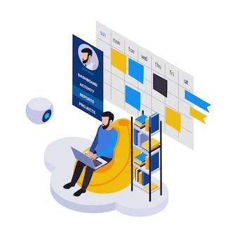 Composición de iconos isométricos de trabajo distante de gestión remota con hombre barbudo sentado con ordenador portátil y calendario