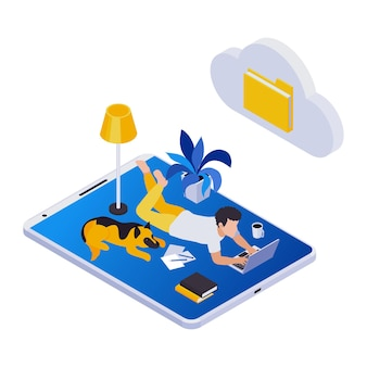Composición de los iconos isométricos de trabajo distante de gestión remota con el hombre tendido en el suelo con el icono de la carpeta de la nube y la computadora portátil del perro