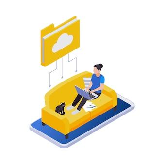 Composición de iconos isométricos de trabajo distante de gestión remota con una mujer sentada en un sofá trabajando con una computadora portátil