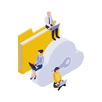 Composición de iconos isométricos de trabajo distante de gestión remota con personas sentadas con computadoras portátiles con carpeta y nube clave