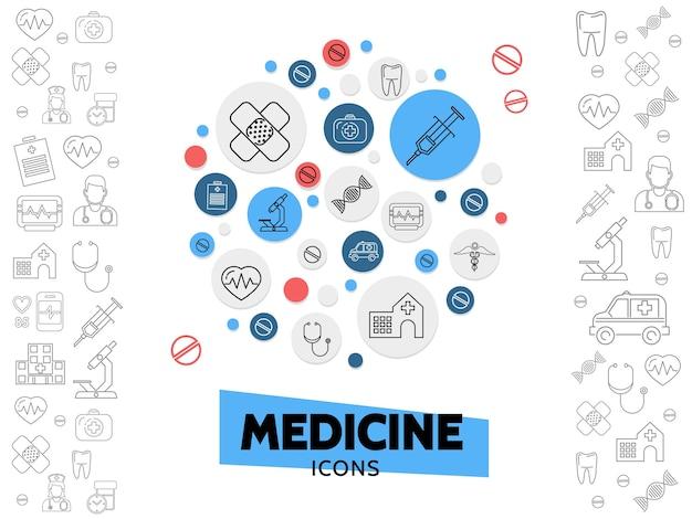 Composición de los iconos de la línea de atención médica con jeringa de yeso microscopio de adn estetoscopio hospital latido del corazón