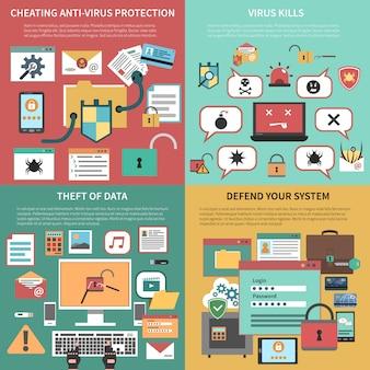 Composición de iconos planos cuadrados de seguridad informática