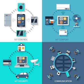 Composición de iconos planos de internet de las cosas