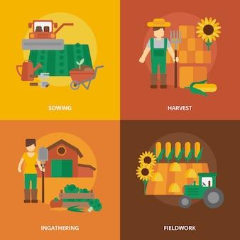 Composición de los iconos planos de tierras de agricultores