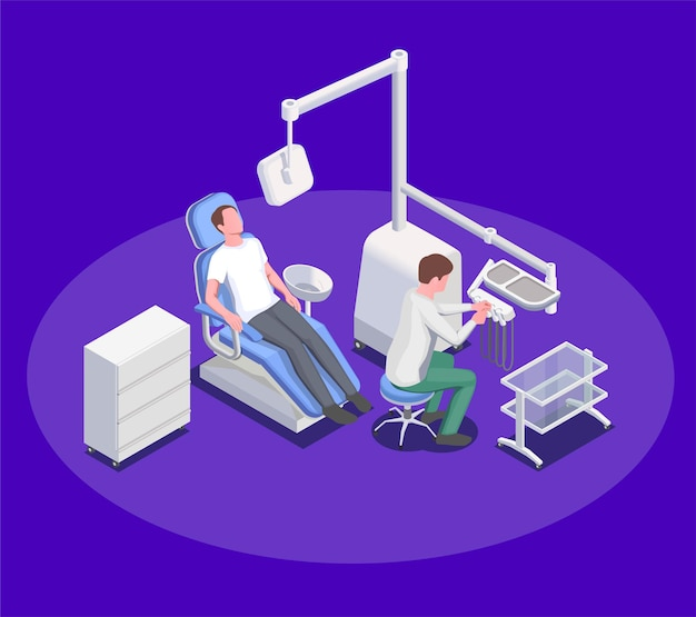 Composición de ilustración de equipo médico con sillón de operación dental y personajes humanos del cirujano dentista y paciente