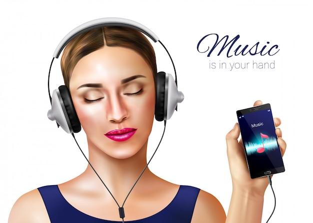Composición de ilustración realista de auriculares auriculares con carácter humano femenino y aplicación de reproductor de música en la pantalla del teléfono inteligente