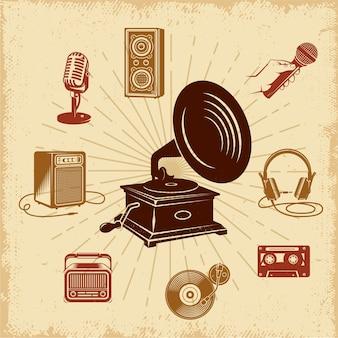 Composición de ilustración vintage de karaoke
