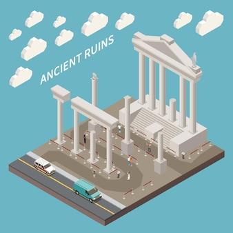 Composición del imperio romano con ruinas antiguas símbolos ilustración isométrica
