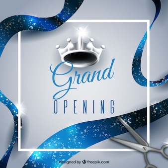 Composición de inauguración con corona plateada