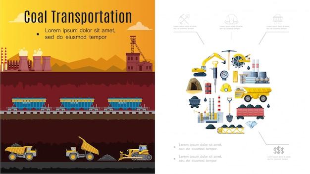 Composición de la industria minera plana con concepto de transporte de carbón, vagones de excavadora, pala de fábrica, pico, dinamita mineral, casco, camión volquete, rueda de cubo