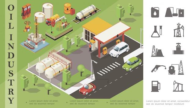 Composición de la industria petrolera isométrica con estación de servicio cisterna ferrocarril cisterna barril bote torre de perforación plataforma de perforación camión tubería válvula e iconos de petróleo monocromo