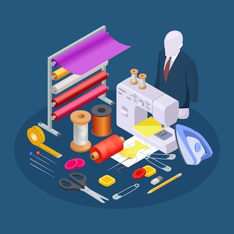 Composición de la industria textil. vector de costura isométrica. colección taller de costura