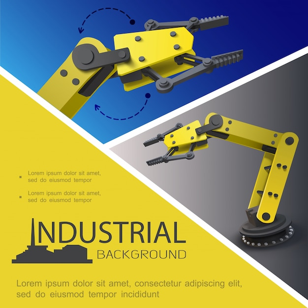 Composición industrial realista con brazos robóticos automatizados sobre fondos azules y grises.