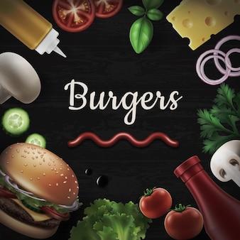Composición con ingredientes: queso, tomate, mostaza, champiñones, pepino, cebolla, lechuga, albahaca para una deliciosa hamburguesa sobre fondo negro.