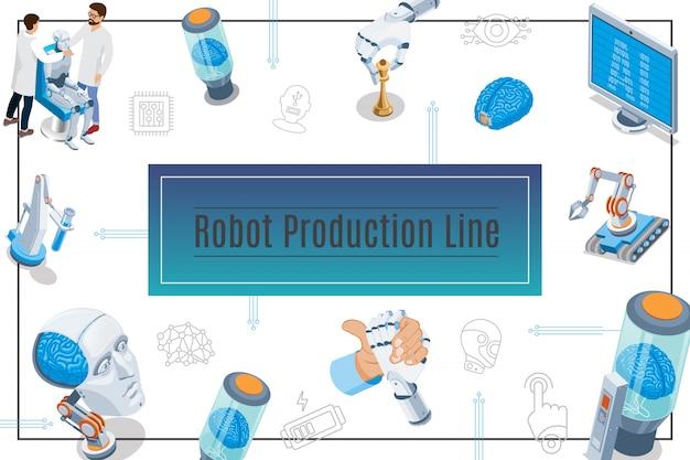 Composición de inteligencia artificial isométrica con monitor cyborg cabeza cerebro en tubo científicos robots industriales brazos robóticos