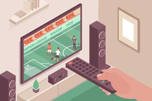Composición interior del canal de deportes con imágenes de la pantalla del televisor del sistema de cine en casa y la mano con el control remoto