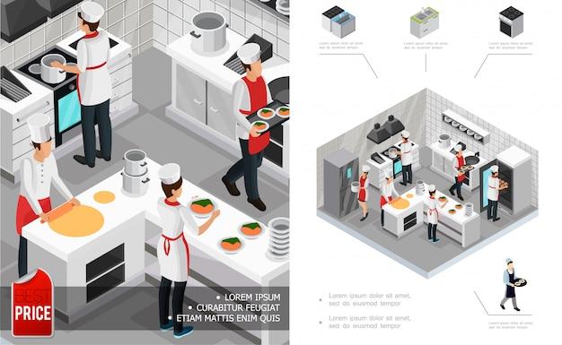 Composición interior de la cocina del restaurante isométrico con chefs cocinando platos muebles estufa nevera y utensilios