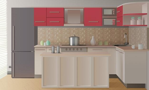 Composición interior de cocina