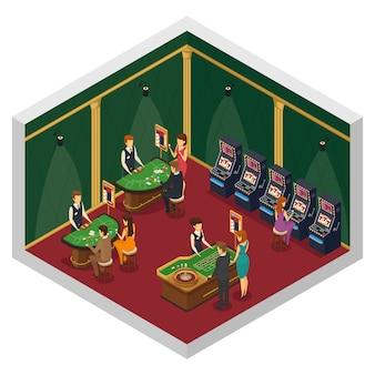 Composición interior isométrica del casino coloreado con dos paredes y piso rojo con mesas de juego y visitantes