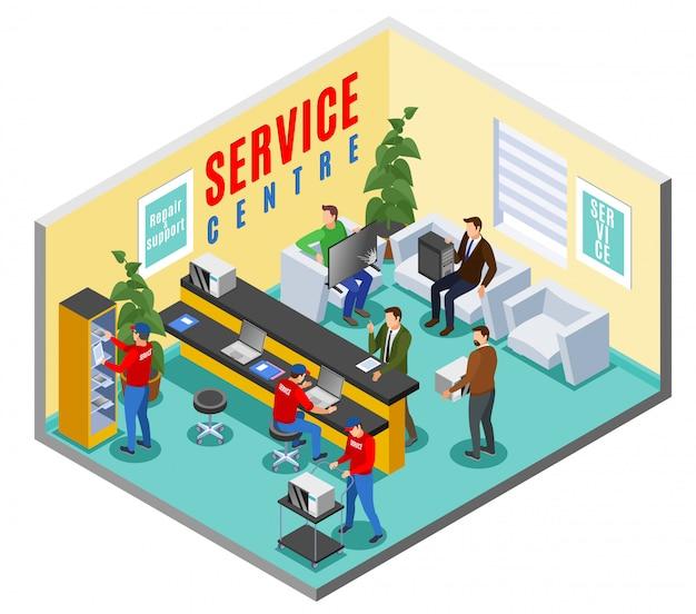 Composición interior isométrica del centro de servicio con el interior de la oficina del área de recepción del taller de reparación con personajes humanos