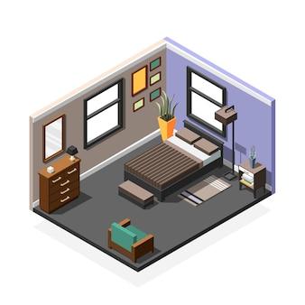 Composición interior isométrica del dormitorio