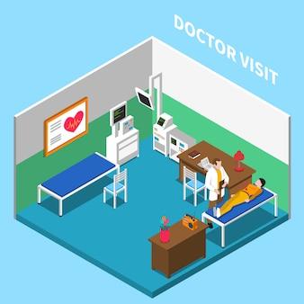 Composición interior isométrica del hospital con texto y escenario interior del consultorio del médico con equipos y muebles.