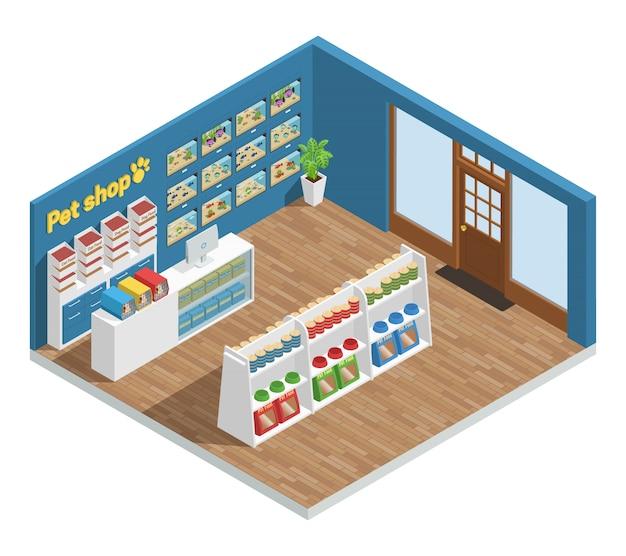 Composición interior de la tienda de animales con accesorios y juguetes.