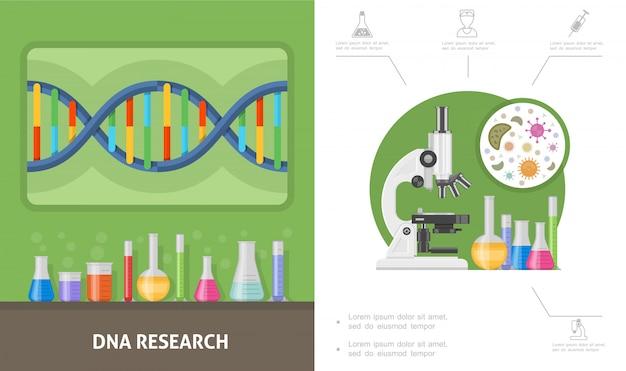 Composición de investigación genética plana con estructura de adn frascos de prueba de laboratorio tubos células de microscopio
