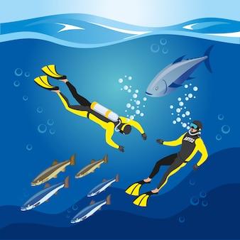 Composición de investigación de profundidades submarinas