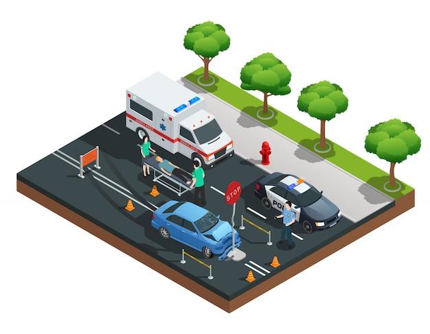 La composición isométrica del accidente de carretera con un automóvil topado con una señal de tráfico y un conductor lesionado en emergenc