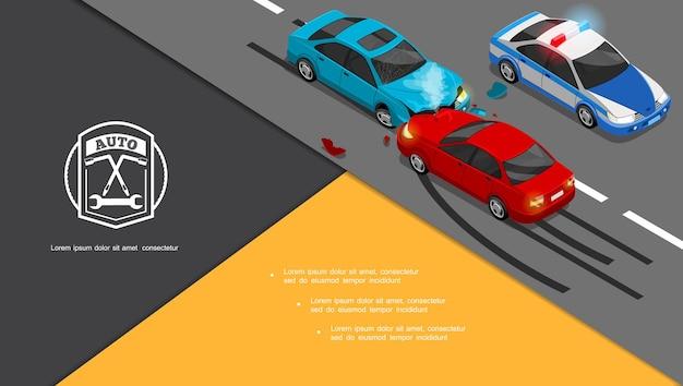 Composición isométrica de accidentes automovilísticos con colisión de automóviles y coche de policía en la carretera