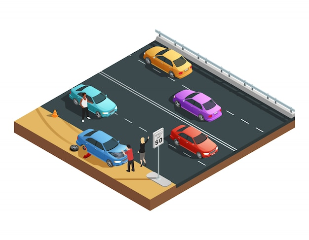 Composición isométrica de accidentes automovilísticos con dos personas que tienen llanta desinflada y piden ayuda vectoriales illu